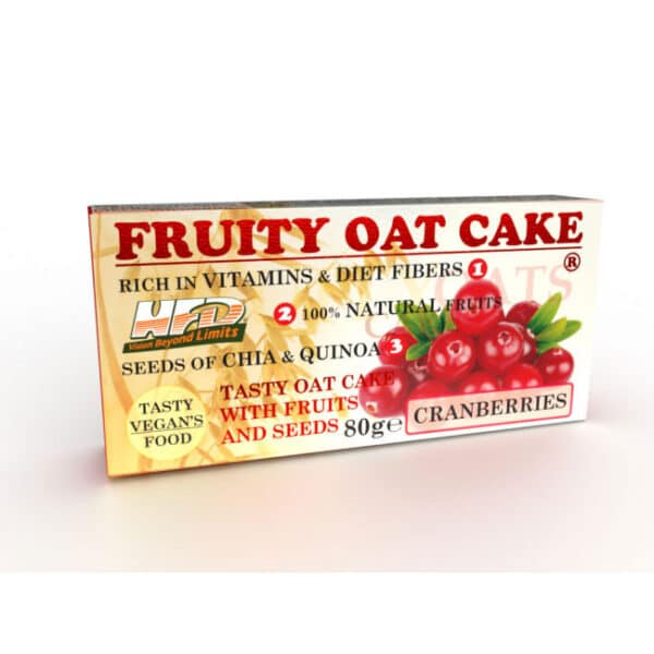 Ενεργειακή Μπάρα Πρωτεΐνης Fruity Oat Cake 80gr της Fit & Shape Cranberries