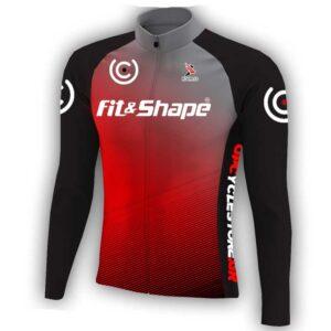 Μπλούζα Ποδηλασίας Χειμερινή σε Κόκκινο-Γκρι Front