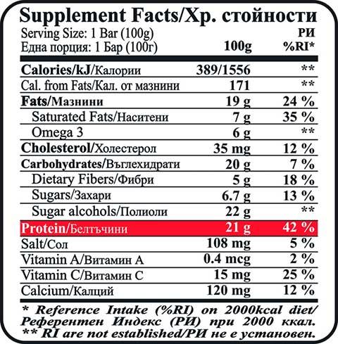 Fit & Shape BROWNIE ® Μπάρα Πρωτεΐνης - 100gr διατροφικη αξια