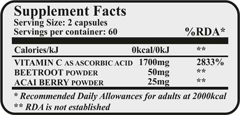 Fit & Shape VITAMIN C + ACAI & BEETROOT - Βιταμίνη C - 120 caps diatrofika stoixeia