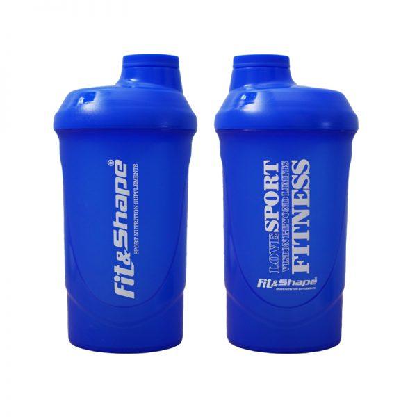 Shaker With Net 600ml της Fit & Shape Σκούρο Μπλε